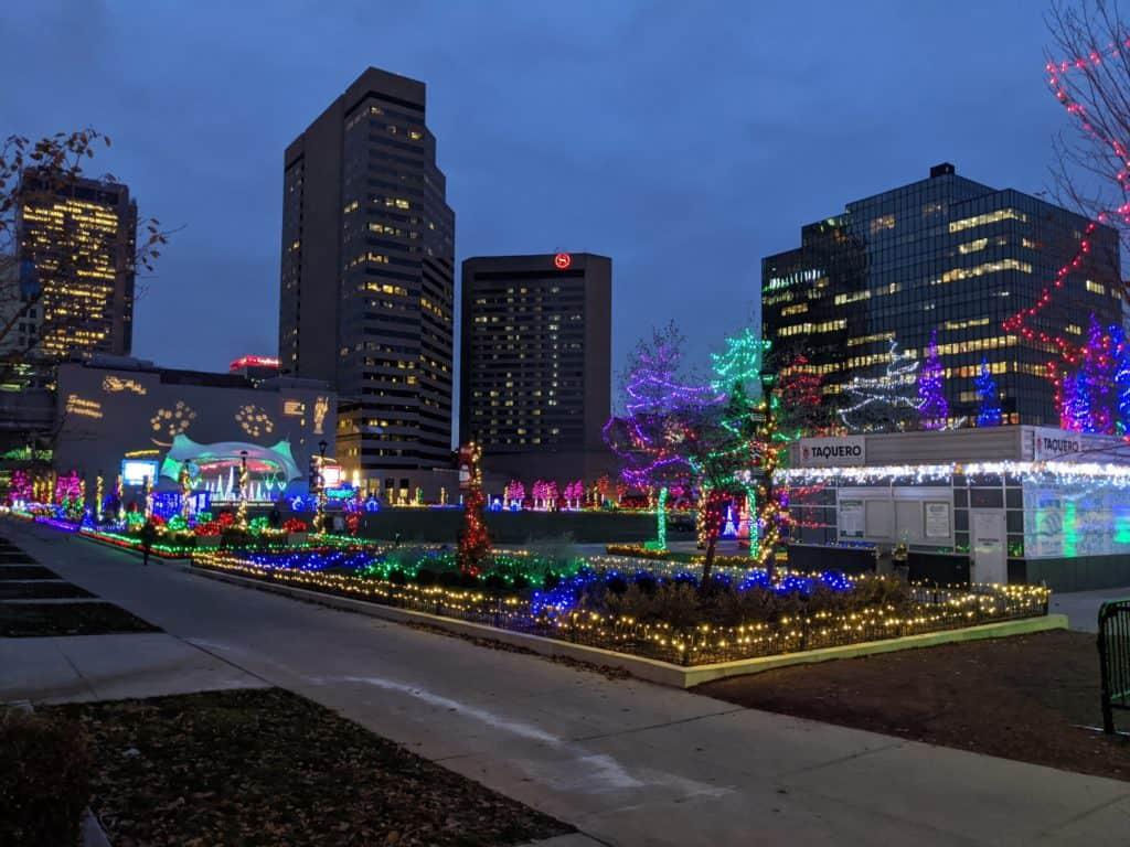 Columbus Commons with Christmas Lights